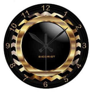 Elegant Gold Chevron Design Clock