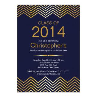 Elegant Gold Chevron Graduation Party Invitation