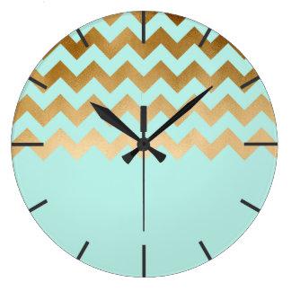 elegant gold chevron pattern mint background large clock
