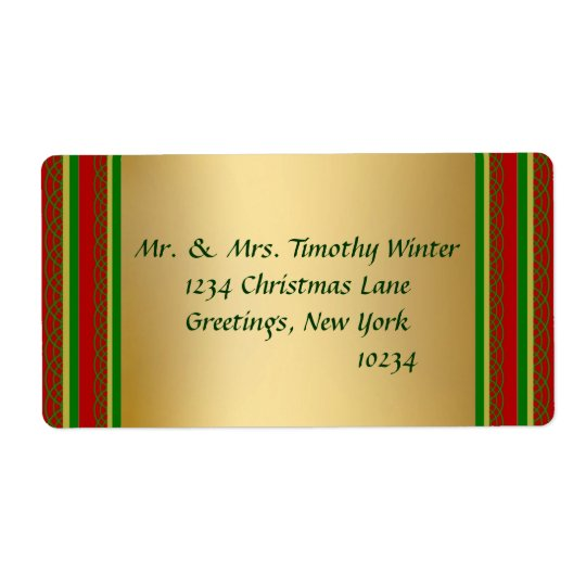 Elegant Gold Christmas Shipping Labels