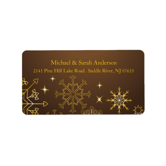 Elegant Gold Christmas Snowflakes Address Label