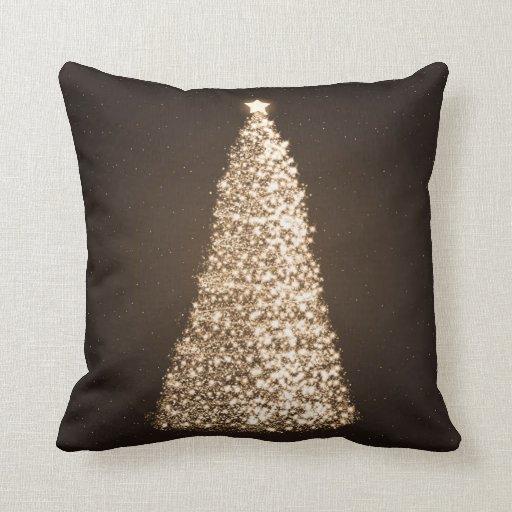 Elegant Gold Christmas Tree Brown Throw Pillow