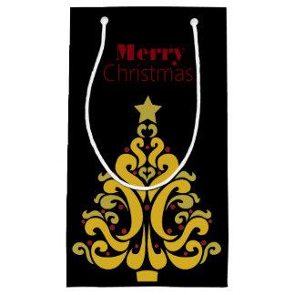 Elegant Gold Christmas Tree Gift Bag Small Gift Bag