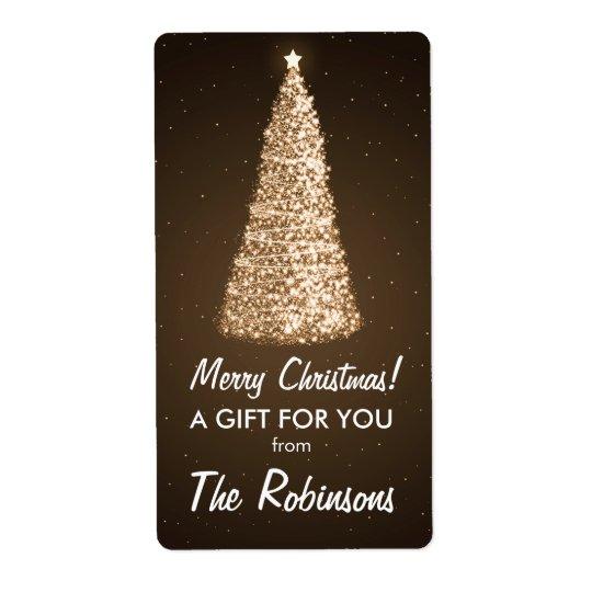 Elegant Gold Christmas Tree Gift Tag Brown