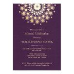 "Elegant Gold Circle Motif Purple Linen Look Formal 5"" X 7"" Invitation Card"