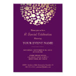 "Elegant Gold Circle Sphere Purple Formal 5"" X 7"" Invitation Card"