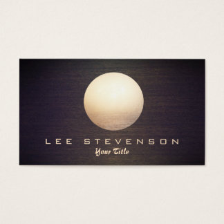 Elegant Gold Circle Sphere Wood Look Simple Modern Business Card