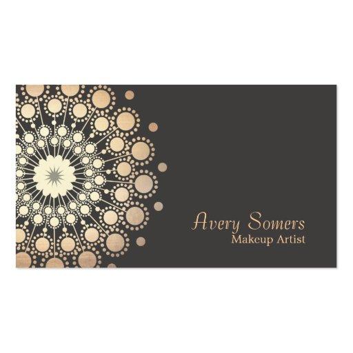 Elegant Gold Circles Makeup Artist Beauty Business Card Template