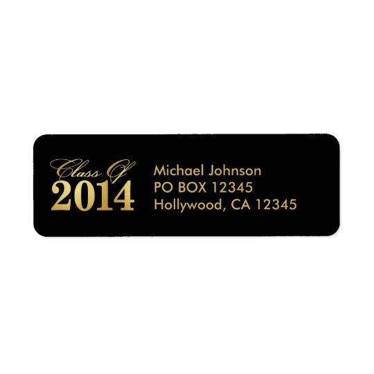 "Elegant ""Gold"" Class of 2014 Graduation Return Address Label"