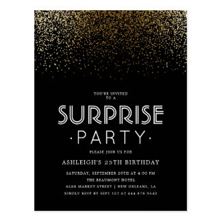 Elegant Gold Confetti & Black Surprise Party Postcard