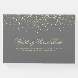 Elegant Gold Confetti Dots Wedding Guest Book