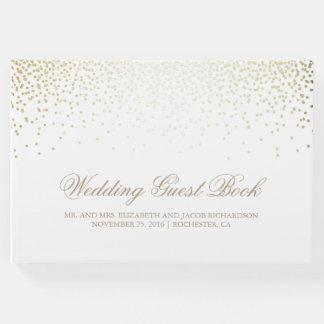 Elegant Gold Confetti Dots White Wedding Guest Book