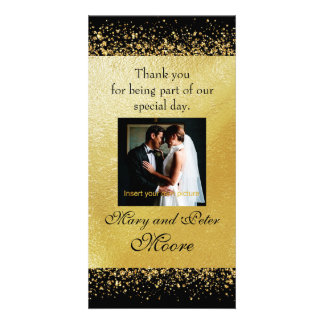 Elegant Gold Confetti on Black Photo Card