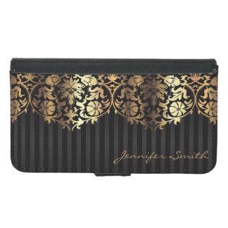 Elegant Gold Damask Black Design Samsung Galaxy S5 Wallet Case
