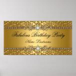 Elegant Gold Damask Embossed Birthday Banner Poster