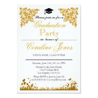 Elegant Gold Damask Graduation Party Invitation