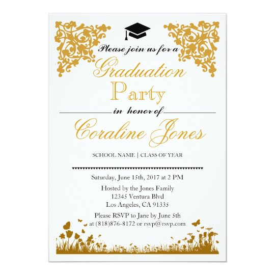 Elegant Gold Damask Graduation Party Invitation