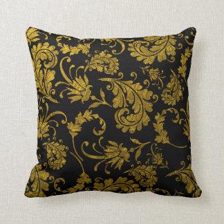 Elegant Gold Damask Pattern On Black Throw Pillow