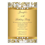 Elegant Gold Damask White Silver Diamond Birthday 5x7 Paper Invitation Card