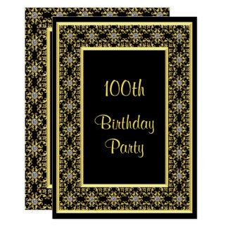 Elegant Gold, Diamond Gem's 100th Birthday Card