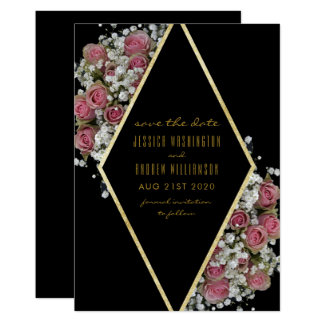 Elegant Gold Diamond & Roses Bouquet Save The Date Card
