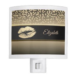 Elegant Gold Diamonds-Glittery Lip-Personalized Nite Light