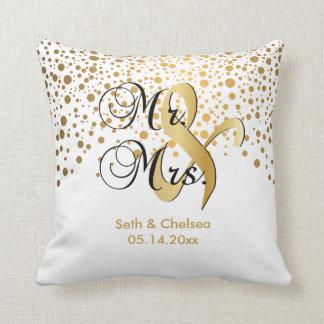 Elegant Gold Dots | Wedding | Personalize Throw Pillow