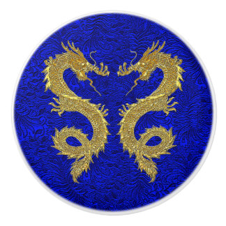 Elegant Gold Dragons on Blue Foil Pattern Ceramic Knob