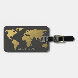 ELEGANT GOLD FAUX BLACK WORLD MAP PERSONALIZED LUGGAGE TAG