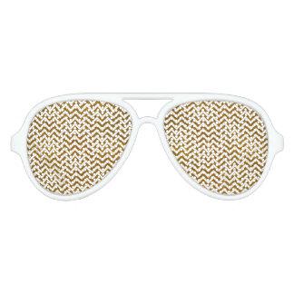Elegant gold faux glitter chevron pattern party sunglasses