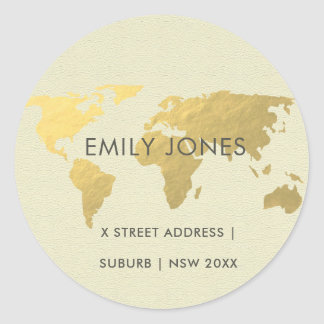 ELEGANT GOLD FAUX KRAFT WORLD MAP PERSONALIZED CLASSIC ROUND STICKER