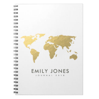 ELEGANT GOLD FAUX KRAFT WORLD MAP PERSONALIZED NOTEBOOK