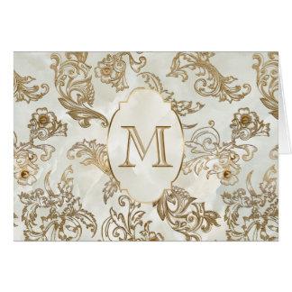 Elegant Gold Faux Marble Monogram Card