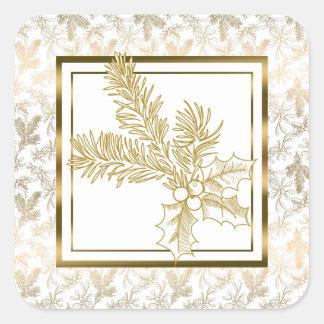 Elegant Gold Faux Metallic Christmas Floral Square Sticker