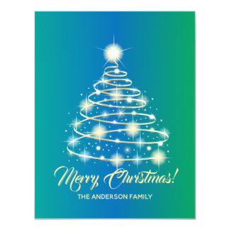 Elegant Gold Festive Holiday Tree Merry Christmas Card