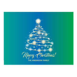 Elegant Gold Festive Holiday Tree Merry Christmas Postcard