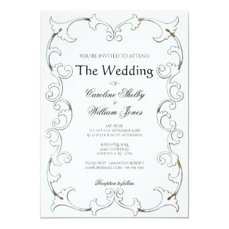 Elegant Gold Filigree Simple Wedding Invitation