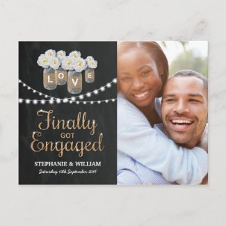 ELEGANT GOLD FINALLY GOT ENGAGED PHOTO INVITATION