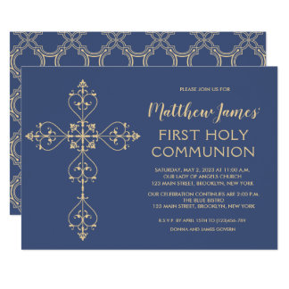 Elegant Gold First Communion Invitation for Boys