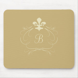 Elegant Gold Fleur de Lis Monogram Mouse Pad