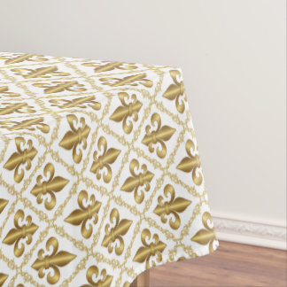 Elegant Gold Fleur-de-Lis Pattern Tablecloth