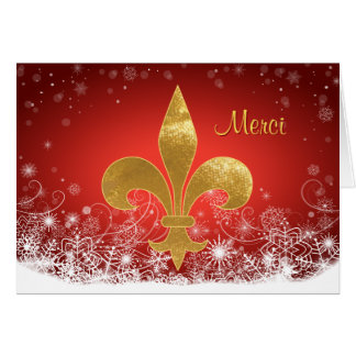 "Elegant Gold Fleur Red Holiday ""Merci"" Thank You Card"