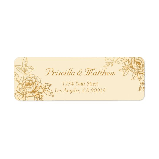 Elegant Gold Floral Address Labels