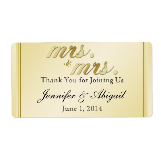 Elegant Gold Floral Gay Wedding Water Bottle Label