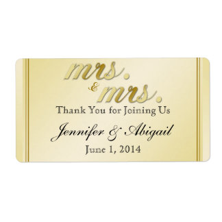 Elegant Gold Floral Gay Wedding Water Bottle Label Shipping Label
