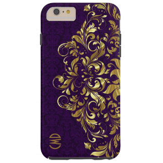 Elegant Gold Floral Lace Purple Damasks Tough iPhone 6 Plus Case
