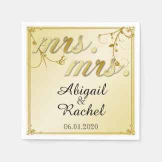 Elegant Gold Floral Mrs Wedding Napkin Paper Napkins
