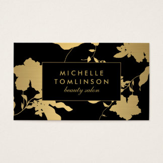 Elegant Gold Floral Pattern on Black Designer Business Card