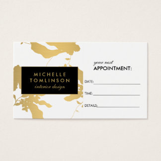 Elegant Gold Floral Pattern White Appointment Card