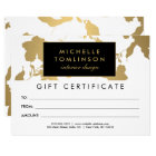 Elegant Gold Floral Pattern White Gift Certificate Card